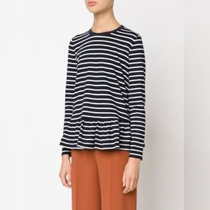 "MOP Mother of Pearl ""Rivoli"" Top in Navy Stripe Lg"